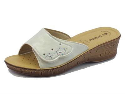 Articolo Pantofole InBlu colore bianco per donna singolo velcro zeppa media