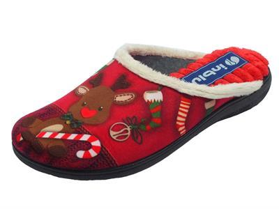 Articolo Pantofole InBlu con motivo natalizio in tessuto rosso