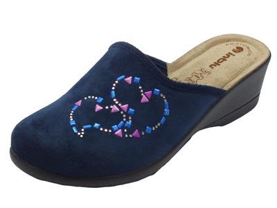 Articolo Pantofole InBlu in tessuto blu con sottopiede in pelle beige