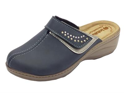 Articolo Pantofole InBlu per donna in ecopelle blu sottopiede in pelle