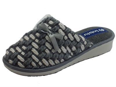 Pantofole InBlu per donna in lana grigia e bianca