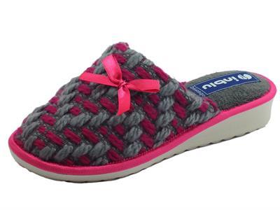 Articolo Pantofole InBlu per donna in lana grigia e fuxia