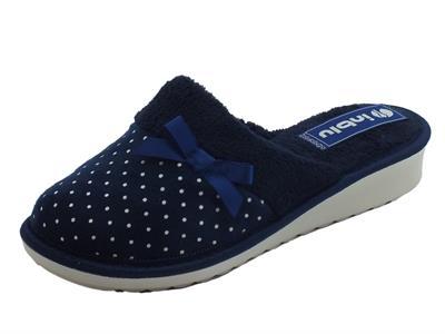 Articolo Pantofole InBlu per donna in pile blu con fiocchetto e poisse