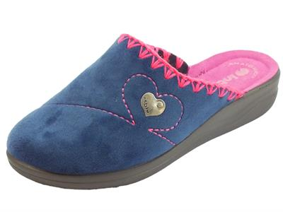 Articolo Pantofole InBlu per donna in pile blu e fuxia