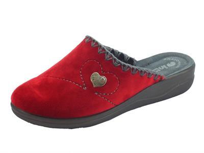 Articolo Pantofole InBlu per donna in pile bordeaux e grigio