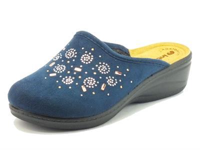 Pantofole InBlu per donna in tessuto blu con brillantini