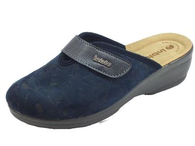 Articolo Pantofole InBlu per donna in tessuto blu con regolazione a strappo