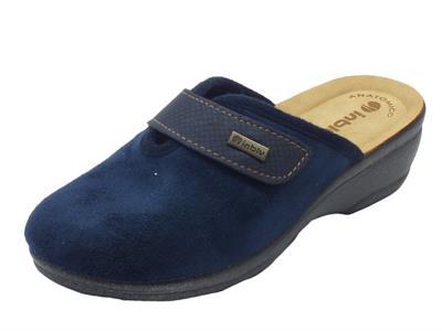 Articolo Pantofole InBlu per donna in tessuto blu con chiusura a strappo