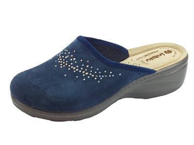 Pantofole InBlu per donna in tessuto blu sottopiede anatomico in pelle
