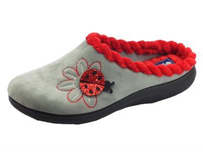 Articolo Pantofole InBlu per donna in tessuto fantasia grigio con coccinella