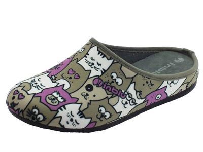 Articolo Pantofole InBlu per donna in tessuto fantasia grigio con gattini stilizzati