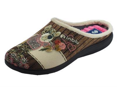 Articolo Pantofole InBlu per donna in tessuto fantasia sabbia con leopardino