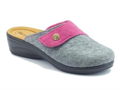Articolo Pantofole InBlu per donna in tessuto fuxia e grigio con velcro