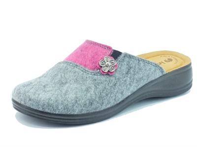 Articolo Pantofole InBlu per donna in tessuto fuxia e grigio