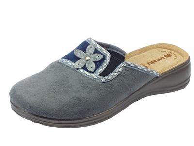 Pantofole InBlu per donna in tessuto grigio con elastico sottopiede pelle