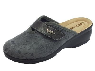 Articolo Pantofole InBlu per donna in tessuto grigio con regolazione a strappo