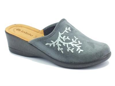 Articolo Pantofole InBlu per donna in tessuto grigio effetto scamosciato