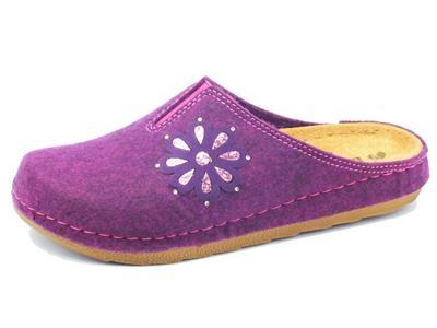 Articolo Pantofole InBlu per donna in tessuto prugna sottopiede in pelle