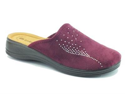 Articolo Pantofole InBlu per donna in tessuto prugna