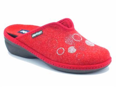 Articolo Pantofole Melluso per donna in lana cotta rossa con plantare estraibile