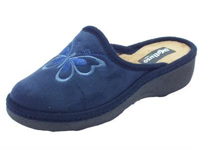 Articolo Pantofole Melluso per donna in tessuto blu con farfalla zeppa media