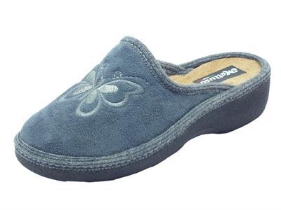 Pantofole Melluso per donna in tessuto grigio con farfalla zeppa media