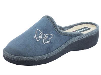 Articolo Pantofole Melluso per donna in tessuto grigio e beige