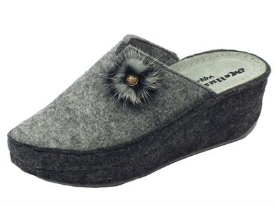 Pantofole Melluso Walk in lana cotta grigia con zeppa alta