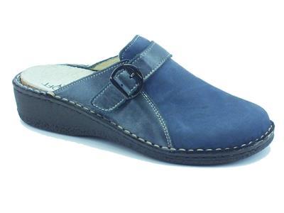 Articolo Pantofole per donna Cinzia Soft in pelle e nabuk blu sottopiede estraibile