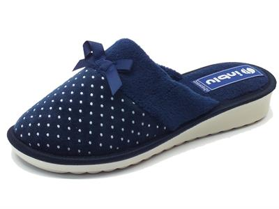 Pantofole per donna InBlu in tessuto blu a poisse con fiocchetto