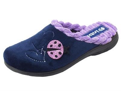 Articolo Pantofole per donna InBlu in tessuto blu con coccinella e cuoricini