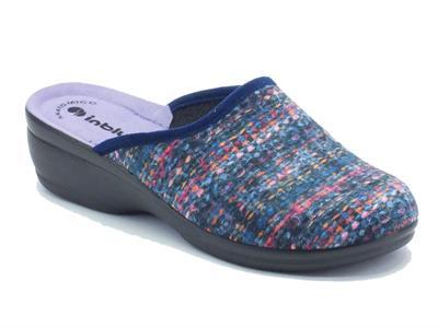 Articolo Pantofole per donna InBlu in tessuto blu fondo soft anatomico