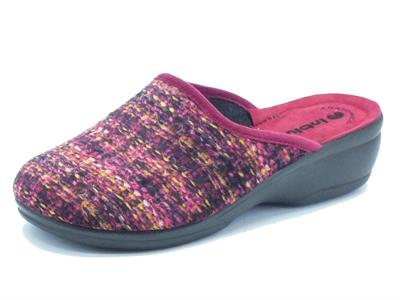Pantofole per donna InBlu in tessuto bordeaux fondo soft anatomico