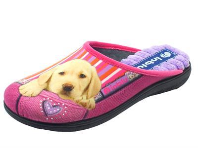 Articolo Pantofole per donna InBlu in tessuto fuxia con cagnolino e strass