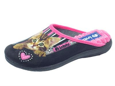 Pantofole per donna InBlu in tessuto nero con gattino e strass