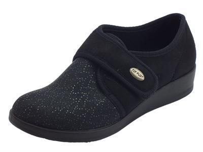 Articolo Pantofole Scarpe FlyFlot per donna in tessuto elasticizzato nero regolazione a strappo