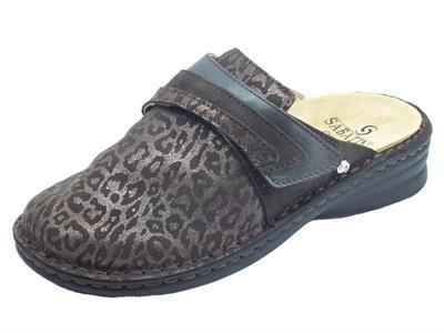 Articolo Sabatini 1843 Pantofole Donna in camoscio leopardato t. moro con sottopiede estraibile