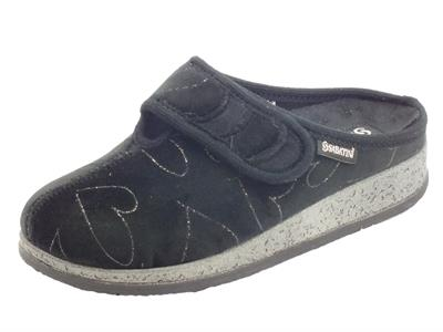 Articolo Sabatini 625 Promise Nero Pantofole Donna in tessuto con chiusura a strappo