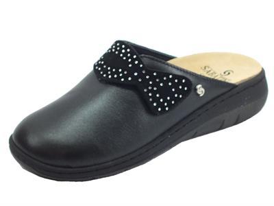 Articolo Sabatini S1100C Perlato Nero Pantofole Donna in pelle nera con sottopiede estraibile