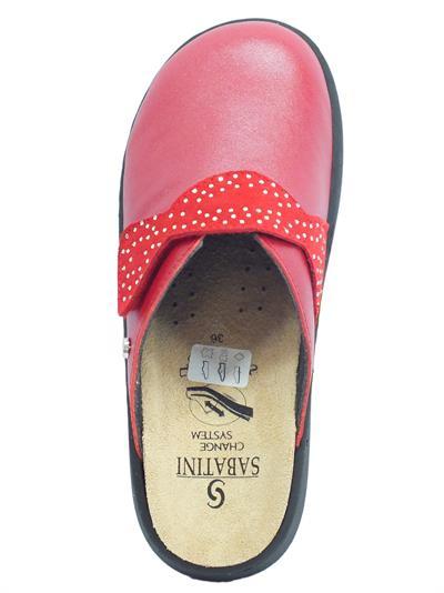 Dettagli su Sabatini S1100C Perlato Rosso Pantofole Donna in pelle con sottopiede estraibile
