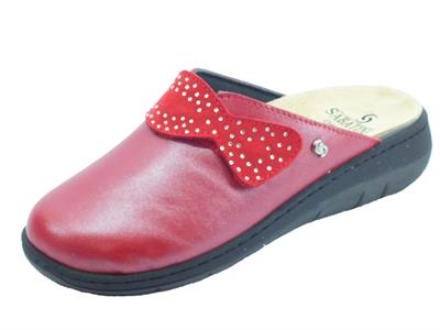 Articolo Sabatini S1100C Perlato Rosso Pantofole Donna in pelle con sottopiede estraibile
