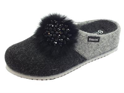 Articolo Sabatini S1650A Lana Antracite Pantofole Donna in lana cotta