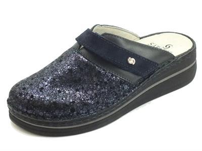 Articolo Sabatini S651 Elba Artemide Blu Pantofole Donna in scamosciato con sottopiede estraibile