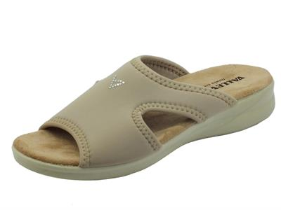 Valleverde 25321 Beige Pantofoline per Donna in tessuto elasticizzato