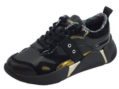 Articolo Blauer Monroe01 Blk Black Sneakers donna pelle nera laminato oro