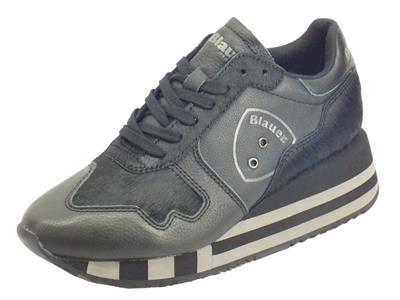 Articolo Blauer USA 9FCharlotte01 Hor Black Sneakers donna in pelle e cavallina nera zeppa alta