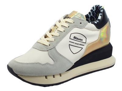 Blauer USA Casey01 Cream Sneakers per Donna in nabuk grigio e tessuto zeppa interna