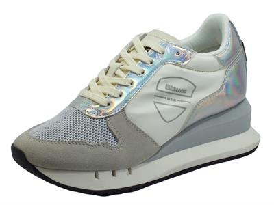 Blauer USA Casey01 White Sneakers per Donna in nabuk grigio e tessuto zeppa interna