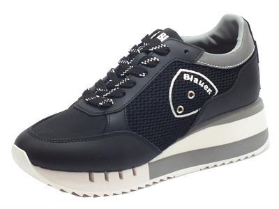 Articolo Blauer USA Charlotte 05 Black Sneakers Donna in pelle e tessuto zeppa alta