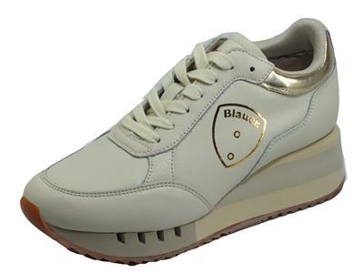 Articolo Blauer USA Charlotte05 Stone Sneakers per Donna in pelle zeppa alta